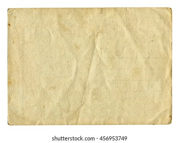 Vintage light paper blank or card isolated on white background. Paper texture for design.