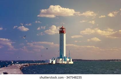 Vintage Lighthouse in Odessa harbor, Ukraine
