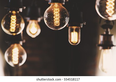 Vintage Lighting bulbs decor in the dark