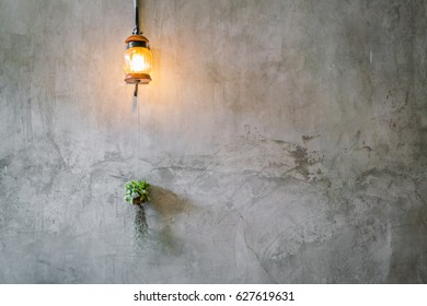 Vintage Lighting decoration with plant over cement wall