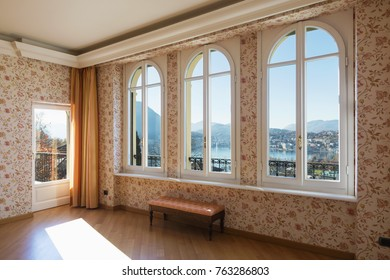 Vintage living room and beautiful view on Lugano