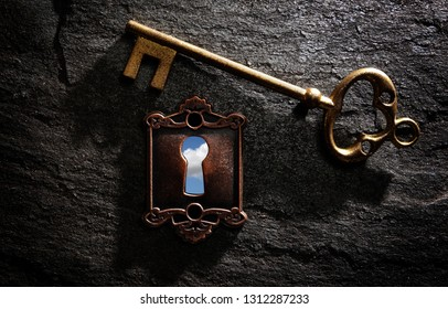 Vintage lock with blue sky and gold key on dark textured background