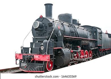 Vintage locomotive on white