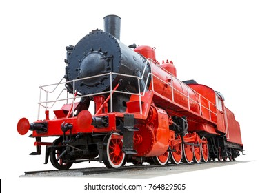 vintage locomotive red color isolated on white background