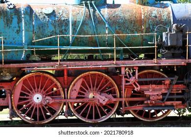 Vintage locomotive wheels. High quality photo. Selective focus - Shutterstock ID 2021780918