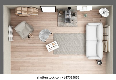 Vintage loft living room with old iron stove, modern interior design, top view, plan, 3d illustration