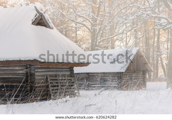 vintage log cabins in the winter fog. The medieval attraction in Estonia. Ancient architecture in the open air Museum in Tallinn. The winter season.