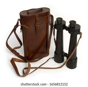 Vintage long range binoculars used for bird watching, horse racing and nautical uses. With their original leather carry case.