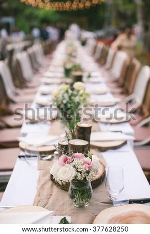 Vintage Long Table Wedding Decoration Stock Photo Edit Now