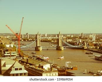 Vintage look Tower Bridge on River Thames London UK