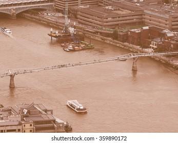 Vintage looking Aerial view of River Thames in London, UK