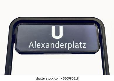 Vintage looking Alexanderplatz U-Bahn (underground) sign isolated on white