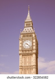 Vintage looking Big Ben at the Houses of Parliament aka Westminster Palace in London, UK