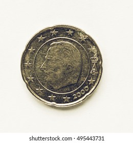 Vintage looking Currency of Europe 20 cent coin from Belgium