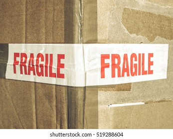 Vintage looking Detail of a fragile corrugated cardboard packet