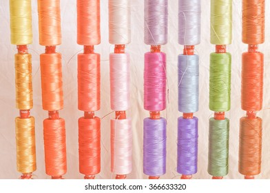Vintage looking Detail view of colour sewing wire threads
