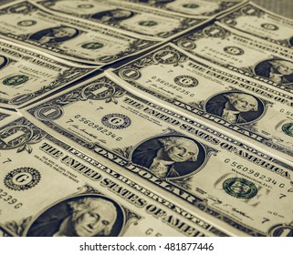Vintage looking Dollar banknotes one Dollar currency of the United States useful as a background