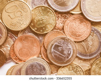 Vintage looking Euro coins currency of the European Union useful as a background