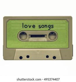 Vintage looking Magnetic tape cassette mixtape of love songs