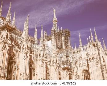 Vintage looking Milan cathedral aka Duomo di Milano gothic church