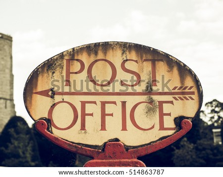 Vintage Looking Old Post Office Sign In England, UK