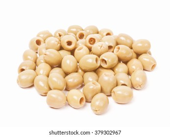 Vintage looking Picture of Green olives over a white background