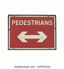 Vintage looking A picture of Pedestrians sign for road works