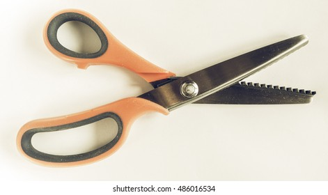 Vintage looking Pinking shears zig zag scissors to cut fabric