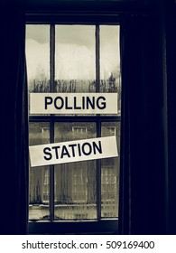 Vintage looking Polling station place for voters to cast ballots in elections
