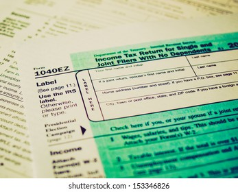 Vintage looking Range of various blank USA tax forms