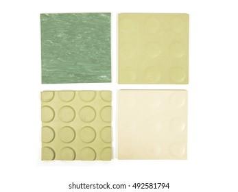 Vintage looking Sample of green rubber linoleum material used for floor tiling