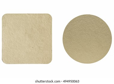 Vintage looking Square and round blank cardboard beermat for a pint of beer isolated over white background