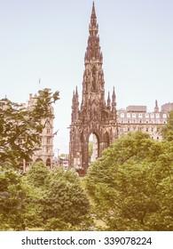 Vintage looking View of the city of Edinburgh in Scotland UK
