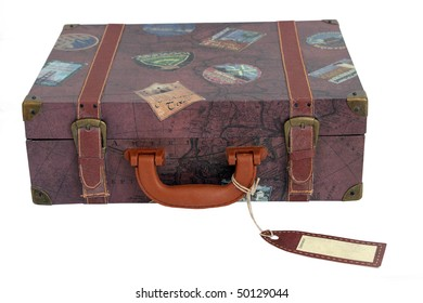 vintage luggage bag that has been isolated on white