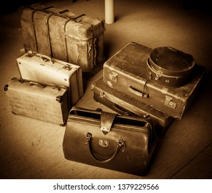 Vintage Luggage, Sepia suitcases, Old fashioned carrying for travel. Historic journey.