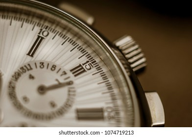 Vintage luxury watch or chronograph. Macro. Shallow depth of field