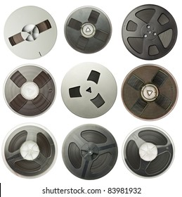 Vintage magnetic audio reels collection.