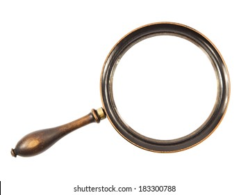 Vintage magnifying glass on a white background