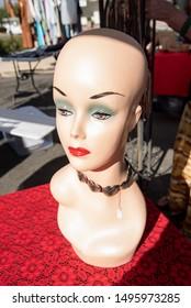 vintage mannequin head bust female face flea market