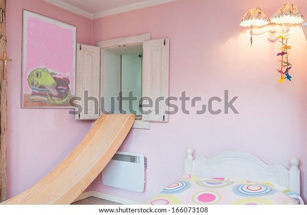 Vintage Mansion Girl Bedroom Colorful Bed Stock Photo Edit Now 166073108