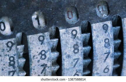 Vintage manual adding machine isolated on white, selective focus - 100