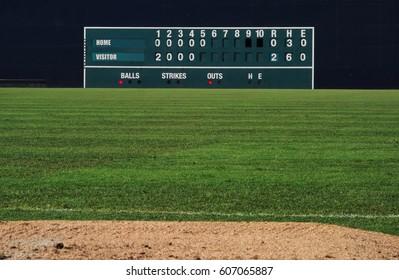 VIntage manual baseball scoreboard in the outfield