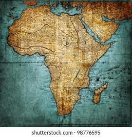vintage map Africa ( mapmaker:HAAS Johann Matthias ( Hasio ) , publisher: Homannianorum H, 1737 Nuremberg Germany)