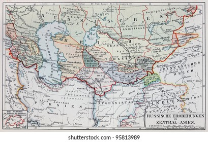 Vintage map of Central Asia - Russian Conquests at the end of 19th century - Picture from Meyers Lexicon books collection (written in German language ) published in 1909 , Germany.