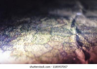 Vintage map close-up