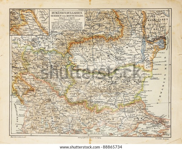 Vintage Map Eastern Europe End 19th Stockfoto (Jetzt ...