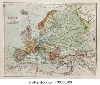 vintage map of europe at the end of 19th century picture from meyers lexicon books