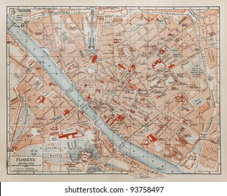 Vintage map of Florence - Picture from Meyers Lexicon books collection (written in German language ) published in 1908 in Germany.