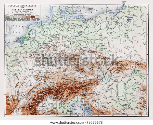 Map Of Germany 1900.Vintage Map Year 1900 Representing Topography Stock Photo Edit Now