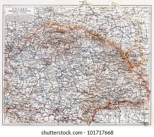 Vintage map of Hungary at the end of 19th century - Picture from Meyers Lexikon book (written in German language) published in 1908 Leipzig - Germany.